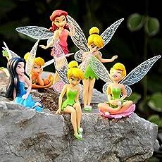 Elektra 6 Pcs Fairy Princess Doll Action Figures for Girls (Multicolour)