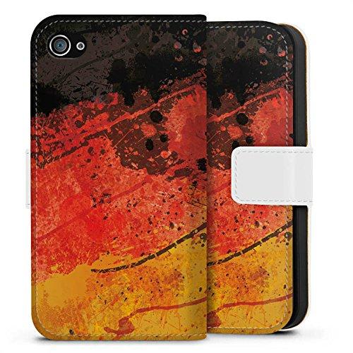 Apple iPhone X Silikon Hülle Case Schutzhülle Deutschlandflagge Deutschland Flagge Germany Sideflip Tasche weiß