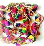 #7: Magic Multicolour lace with golden colour base having attached colourful latkan (nodes)(2.5 mtr1 piece)