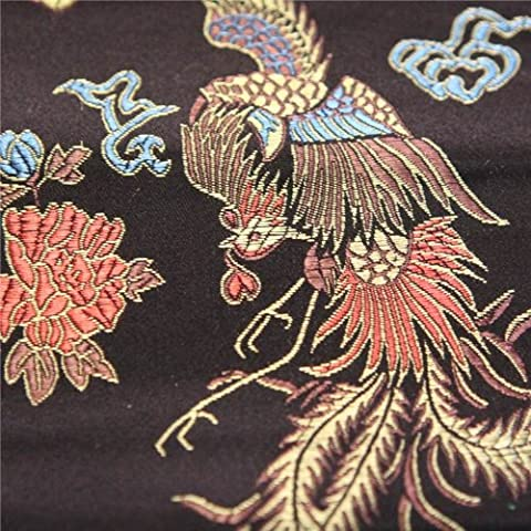 CHINESE ORIENTAL BLACK & GOLD DRAGON EMBROIDERED