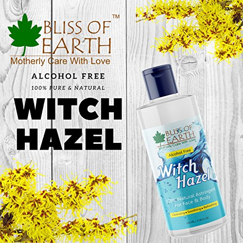Bliss of Earth™ Alcohol Free Witch Hazel Astringent | 100ML | 100% Pure & Natural Toner | Great For Face & Body |