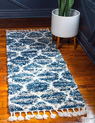 Unique Loom Hygge Shag Collection Gitter Spalier Plüsch Gemütlicher Beige Läufer Teppich Modern 3' x 8' Runner Rug blau -