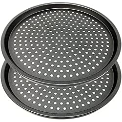 LS Kitchen - Moules à Pizza Perforées - Plaque à pizza Anti-Adhésive - Set 2 - Acier au Carbone - Ø 29 cm