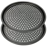 LS Kitchen - Set of 2 Non Stick Pizza Crisper Tray for Oven - Pizza Pan Baking Tray Twin Pack - Crusty Bake Pizza Crisper Tray - 29 cm