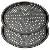 LS Kitchen - Set of 2 Non Stick Pizza Crisper Tray for Oven - Pizza Pan Baking Tray Twin Pack - Crusty Bake Pizza Crisper Tray - 29 cm