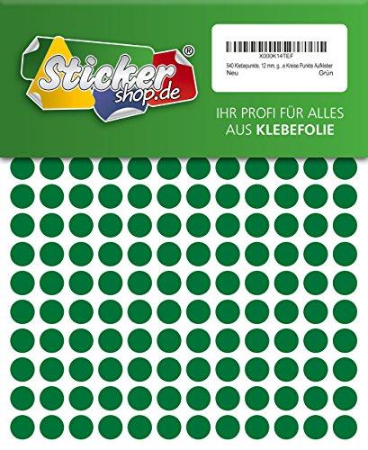 540adhesivos, 12mm, verde, funda de PVC, resistente a la intemperie, LabelOcean círculos puntos Pegatinas