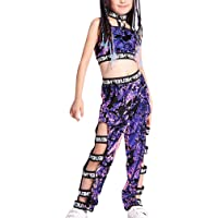 Xiedeai Dance Costume Street Outfit - Dancewear Hip Hop Jazz Costumes Girls Sequin Purple Clothing Set Stage…