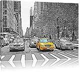 viele Taxis in New York schwarz/weiß Deluxe Format: 120x80 cm auf Leinwand, XXL riesige Bilder fertig gerahmt mit Keilrahmen, Kunstdruck auf Wandbild mit Rahmen, günstiger als Gemälde oder Ölbild, kein Poster oder Plakat