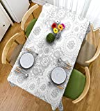 HAIXIA Tischdecken Grau Decor Shabby Chic slawischen Monochrome Rose Petals Florets Ethnic Duft Artwork Full Weiß, 55inch*82inch