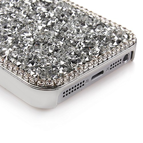iPhone 5 Bling Hart Case - Felfy Weiß Diamant Luxus Kristall Strass Glitzer Shining Hard Back Cover Schale Handy Tasche Etui Hülle für Apple iPhone 5S 5 + 1x Silver stylus + 1x Screen Protector Silber