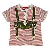 BONDI Shirt Geringelt mit Knopfleiste, Stripe Rot/Grey-Melange 62 Tracht Baby Jungs Artikel-Nr.91003