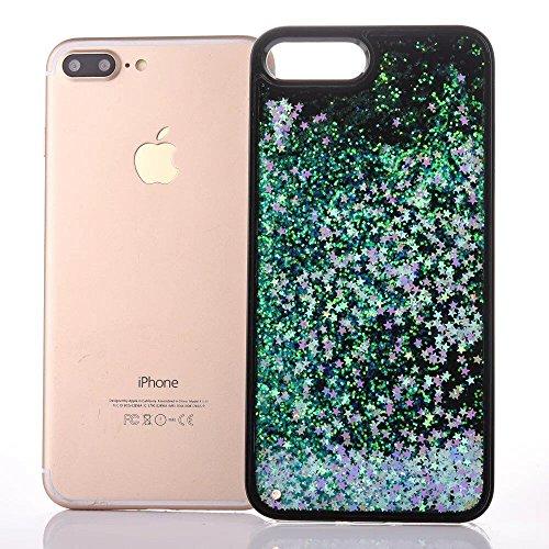 iphone 7 hülle flüssig, LuckyW PC Hardcase Handyhülle für Apple iPhone 7 7S(4.7 zoll) 3D Bling Glitter Glitzer Flowing Fließend Liquid Flüssig Shinny Moving Star Floating Trend Schwimmend Treibend Ste Blau Stern