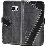 elephones Handyhülle für Samsung Galaxy S7 Hülle - Schutzhülle Handy-Tasche für Galaxy S7 - Wallet Case Cover Grau