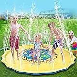 Splash Pad, 170cm Tapis de Jeu de Jet et d'éclaboussure d'eau Pulvérisation d'eau Eau Piscine Gonflable Jeux pour la Piscine pour Summer Fun Beach Coussin d'arrosage de pelouse en Plein Air