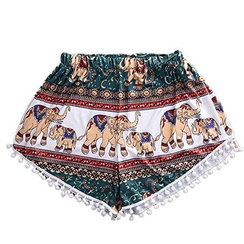 Minetom Donne Ragazze Moda Estate Pantaloncini Elefante Tribale con Frange Alto Vita Beach Shorts EU S