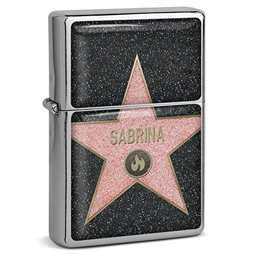 PhotoFancy® - Sturmfeuerzeug Set mit Namen Sabrina - Feuerzeug mit Design Walk of Fame - Benzinfeuerzeug, Sturm-Feuerzeug