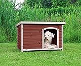 Bild: TRIXIE Natura Hundehütte mit Flachdach braun L 104  72  68 cm kastanienbraunweiß
