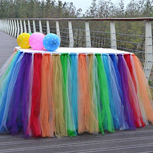 isch Röcke für Rechteck & runde Tische Baby Dusche Dekoration Tischdecke Tuch für Geburtstag Hochzeit Weihnachtsfeiern Dekor-Regenbogen / mehrfarbig ()