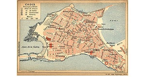 Small Map Of Spain.Spain Cadiz Cadix 1921 Map Amazon Co Uk Kitchen Home