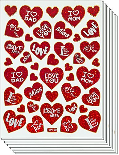 Jazzstick 250 Valentine's day Red Heart with Message Value Pack Decal Stickers 10 sheets A35 (Valentines Day Pack Von Karten)