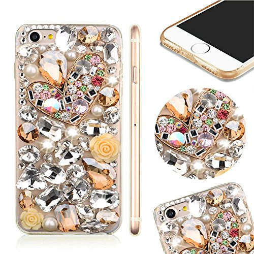 MOMDAD IPhone 7 Coque IPhone 7 TPU Silicone Case IPhone 7 Souple TPU Cover avec Paon Bling Crystal Etui Housse de Protection [Pare-Chocs] Shell Skin pour IPhone 7 4.7 Pouces Soft Portable Hull Etui-Bl PC-Diamant-7