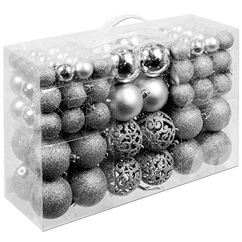 BAKAJI Confezione 100 Palline di Natale Colore Silver Diametro 3/4/6 cm Addobbi e Decorazioni per Albero di Natale