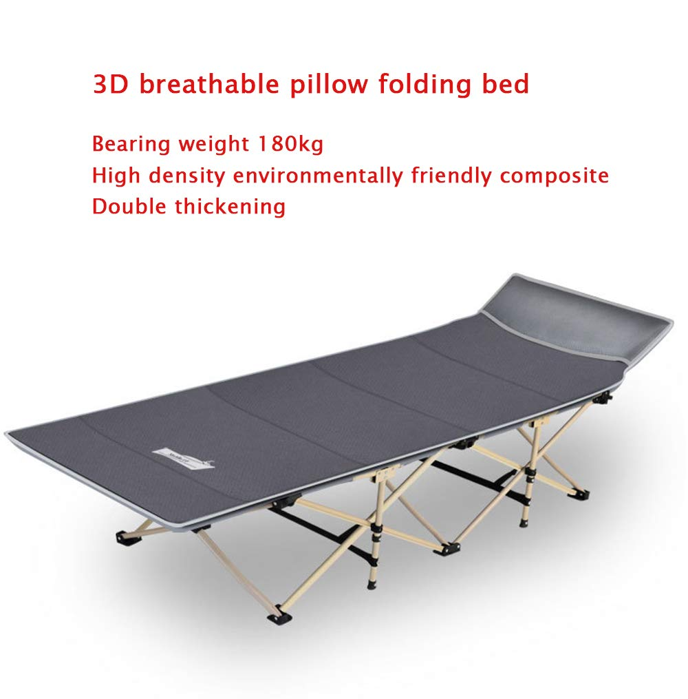 MIMI KING Strong Stable Folding Camping Bed, Indoor Guest Bed, Office Comfortable Sleeping Bed For Adult Single Size With Carry Bag,Navy MIMI KING Low noise design, the folding bed tube frame is closely fitted with the fabric, and the new plastic parts cushion the noise reduction, avoiding excessive noise on the bed surface when turning over, which will give you a comfortable and quiet lunch break environment. Bottom steel pipe inner bend design, thick pipe frame, high-strength iron alloy pipe frame, support mechanics design, thickness up to 0.8mm, surface with high-tech painting process, anti-corrosion and anti-rust Easy to carry, suitable for office, home, outing, travel, folding storage, saving space 3