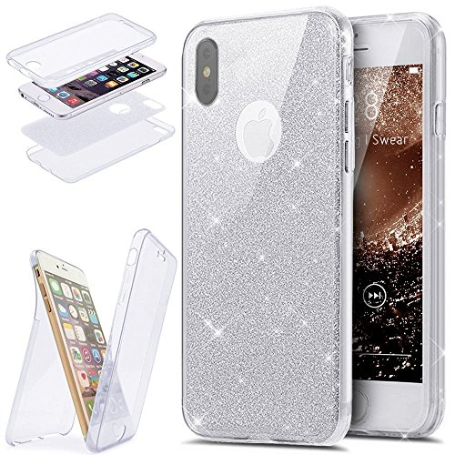 JAWSEU iPhone X Coque Transparent Glitter,iPhone X Plus Etui en Silicone Clair avec Pailletee,Brilliante Bling À pois Soft Tpu Case Cover,Ultra Slim Sparkle Scintillant Flexible Souple Gel Housse Etui argent/in gel