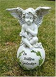 Engel auf Kugel Trauerengel Grabschmuck *In stillem Gedenken* wetterfest 23 cm