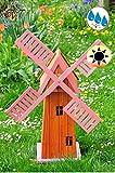 100 cm 1m Windmühle-4eckig groß, Gartenwindmühle 100 cm, KLASSIK E6CK100-pink-MS MIT BALKON-Rand Fenster, PINK rosa voll funktionstüchtig,schöne Details, Fensterkreuz Deko-Windmühlen Outdoor, Windfahne / Windrad komplett mit Solar, Solarbeleuchtung DOPPEL-SOLAR LICHT 1 m groß pink lackiert, Flügel - Leisten pinker rosaroter roter Korpus unten für Innen- und Außenbereich, Balkon, Garten und Terrasse, wunderschöne Gartenzierde