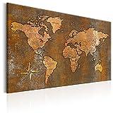 murando Bilder 120x80 cm - Leinwandbilder - Fertig Aufgespannt - 1 Teilig - Wandbilder XXL - Kunstdrucke - Wandbild - Poster Weltkarte Welt Landkarte Kontinente k-A-0059-b-b