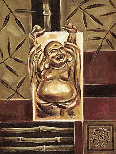 Artland Qualitätsbilder I Bild auf Leinwand Leinwandbilder Wandbilder 60 x 80 cm Fantasy Mythologie Religion Buddhismus Malerei Braun B8TO Freuender Buddha