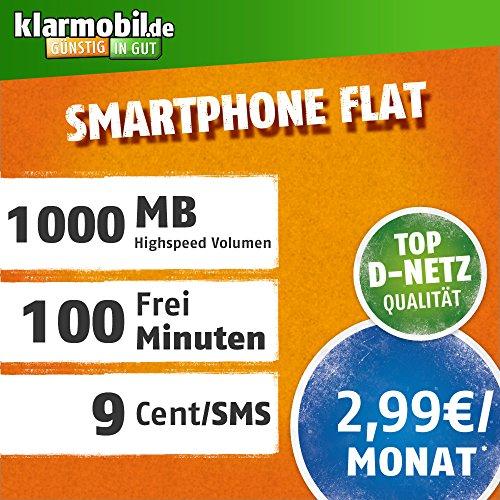 klarmobil Smartphone Flat im D-Netz (2,99 EUR monatlich, 24 Monate Laufzeit, 100 Frei-Minuten in alle deutschen Netze, 1GB Internet Flat, mit max. 21,6 MBit/s, Triple-Sim-Karten)