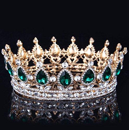 Dairyshop Accessori nuziali di capelli del diadema della parte superiore della regina della fascia del Rhinestone nuziale dell'annata (Argento Blu) Oro Verde