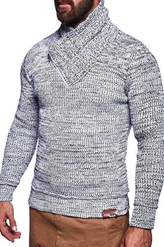 MT Styles maglia maglione collo a scialle uomo M-1010 [bianco, S]