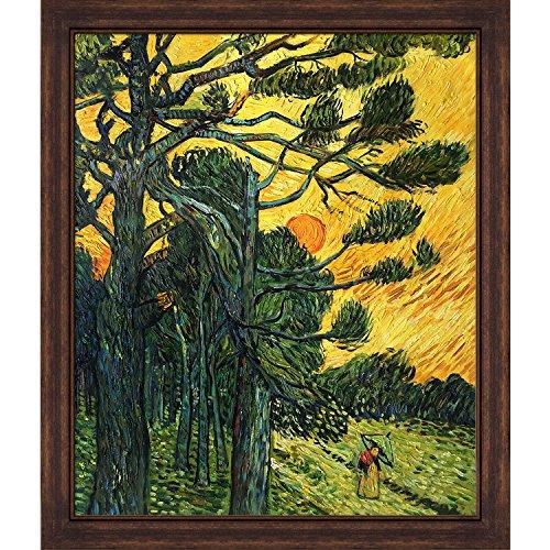 overstockArt Kiefer Bäume, A Red Sky durch Van Gogh Einstellung Sonne und Kupfer Sweep Rahmen mit Distressed Bronze Finish, Dunkles Holz -