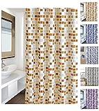 """Cotexsa by MSV 142102 Premium Anti-Schimmel Textil Duschvorhang - Anti-Bakteriell mit 12 Duschvorhangringen - Polyester, """"Mosaik"""" Orange 180x200cm – Made in Spain"""