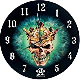 wunderschöne Wanduhr green Skull Prince of Oblivision by Alchemy