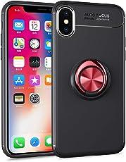 Für iPhone Xs Max Hülle Silikon 360 Grad Handy Ring Ständer Magnet Metallisch Fingerhalter für Auto KFZ-Halterung, Coollee Handyhülle mit Standfunktion Etui TPU Weich Matt Dünn Smartphone Bumper, Ring Rot