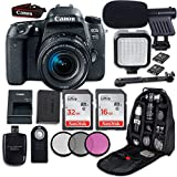 #7: Canon EOS 77D DSLR Camera with Canon EF-S 18-55mm f/4-5.6 IS STM Lens + LED Light + Microphone + Video Accessory Bundle