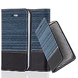 Cadorabo Hülle für Apple iPhone 4 / iPhone 4S - Hülle in DUNKEL BLAU SCHWARZ – Handyhülle mit Standfunktion und Kartenfach im Stoff Design - Case Cover Schutzhülle Etui Tasche Book