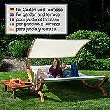 Textil Holz Doppel Gartenliege mit Sonnendach und Kissen von Ampel 24 - 5
