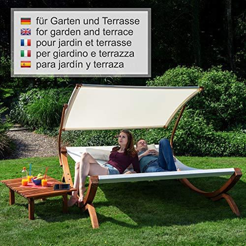 Ampel 24 Doppel-Sonnenliege Panama | 100% wetterfeste Gartenliege | verstellbares Sonnendach | Liege weiß für 2 Personen - 5