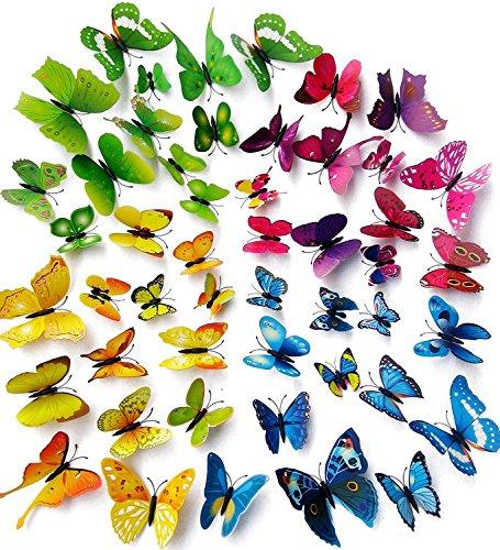 Tesan 48 PCS 3D Schmetterlinge Wanddeko Aufkleber Abziehbilder, 12st Blau 12st Lila 12st Grün 12st Gelb, schlagfestem Kunststoff Schmetterling Dekorationen, Wand-Dekor