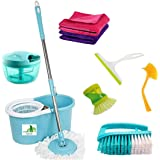 TOPREDO Plastic Mop with 5 Super Absorbent Refills for Home , Office Floor Cleaning , 360 Degree Spin Bucket, 180 Degree…
