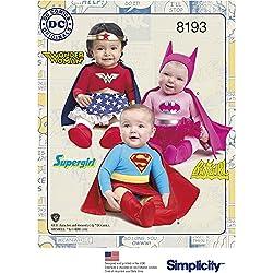 Simplicity Pattern 8193un (XXS-XS-S-M-L) bebés 'Super Hero Costumes, papel, color blanco, 22.14X 15.14X 1,14cm