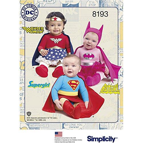 Simplicity 8193 A (XXS-XS-S-M-L) - Disfraz de superhéroe para bebé, Color Blanco, 22,14 x 15,14 x 1,14 cm