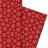 groß gemustertes Weihnachtspapier/Geschenkpapier zu Weihnachten mit Weihnachtsstern Blume, rot, für tolle Geschenk Verpackung und Überraschungen (4 Bogen, 32 x 48cm)
