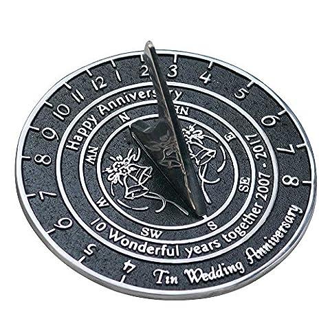 Handmade Tin Wedding & Anniversary Sundial Gift By The Metal