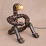 Pointhx Industrielle Wasser-Rohr-Roboter-Tabellen-Lampen-industrielle Weinlese-Schmiedeeisen-Schreibtisch-Licht-Restaurant-Schlafzimmer-Nachttisch-Edison E27 Nachtlaterne